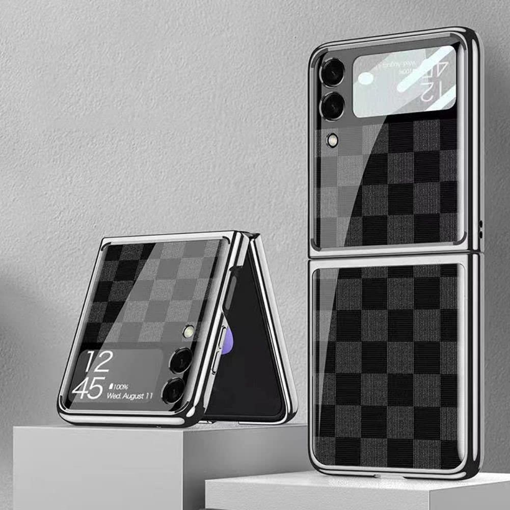 SHIEID Samsung Z Flip 3 Case, Z Flip 3 Case Ultra-Thin Tempered Glass Phone Case Protective Cover for Samsung Galaxy Z Flip 3 5G Fashion Electroplated PC Back Cover, Chess Grey