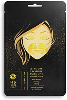 Happy Skin 5-Pack Anti-Aging 24K Gold Hydrogel Ultra-Lite Facial Care with Bee Venom: Smile Line Patch - Paraben-Free, Sulfate-Free Fragrance-Free
