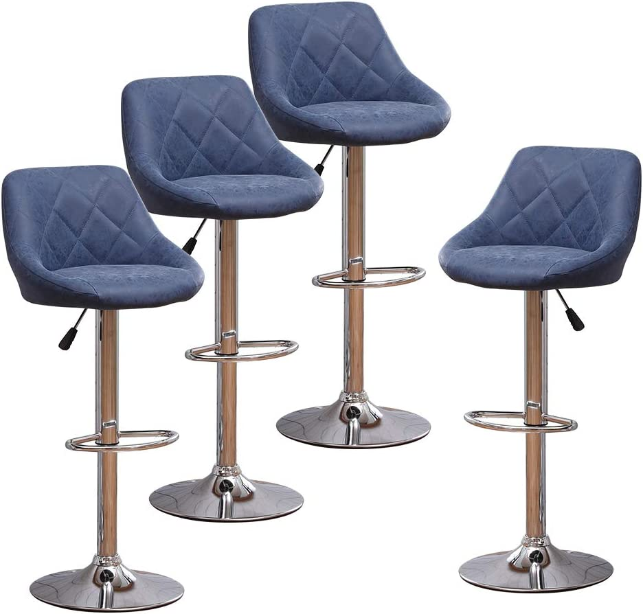 Huisen Furniture Set of 9 Blue Kitchen Bar Stools Chairs for Breakfast  Counter Height Adjustable, Leather Pub Swivel Stool with Upholstered Seat  9 ...