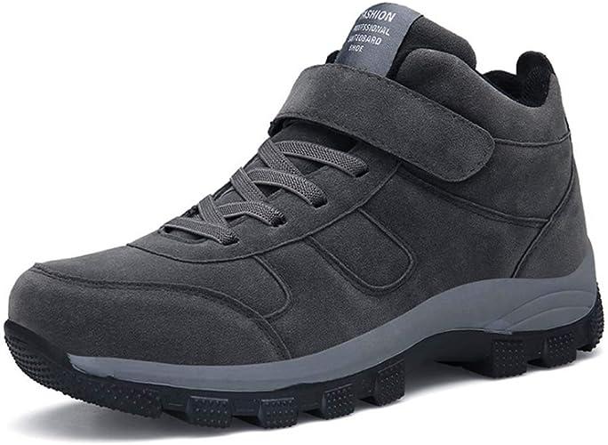 HYLFF Bottes de Neige pour Hommes, Bottes d'hiver Chaudes doublées en Fourrure, Bottes en Coton Anti-dérapantes imperméables Anti-dérapantes en Coton à Haute élévation, Chaussures de randonnée