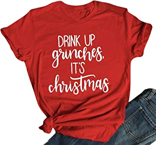 UNIQUEONE Drink UP Grinches It's Christmas T Shirt Women Christmas Short Sleeve Letter Print Funny Tee