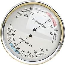 SDENSHI Reloj de Pared con Termómetro y Higrómetro Termómetro Medidor de Temperatura Medidor Metal para Dormitorio, Habitación de Bebé, Almacén, Jardín