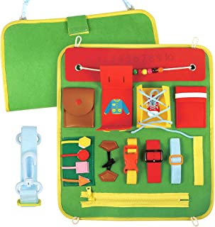 PP OPOUNT Basic Skills Activity Board for Fine Motor Skills, Educational Learning Toys Sensory Toy for Airplane or Car Travel, Best for 3, 4, and 5 Year Olds