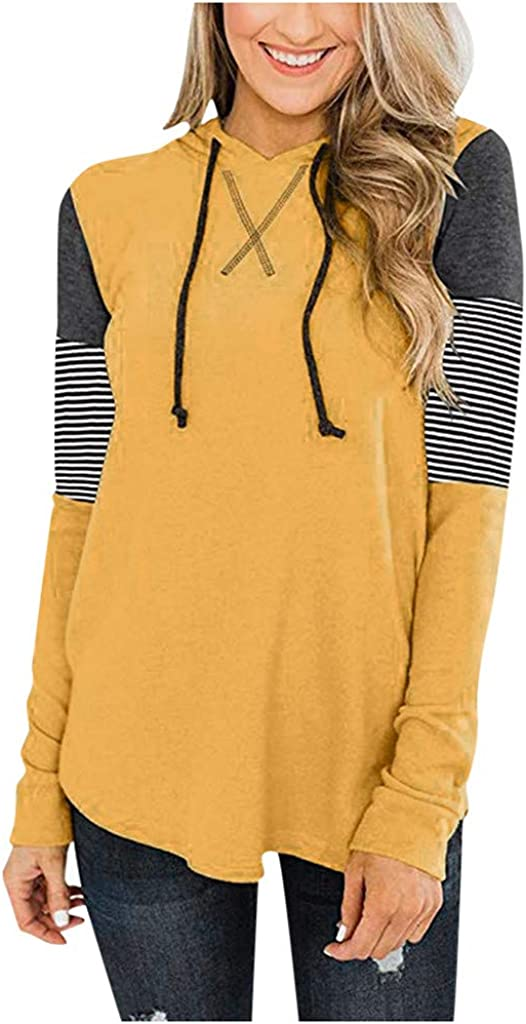 Hooded Tunic Tops for Leggings Women NRUTUP Long Sleeve T Shirt Hoodie Colorblock Loose Blouse Spring Casual Active