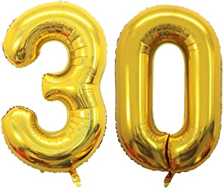 GOER 42 Inch Gold 30 Number Balloons,Jumbo Foil Helium Balloons for 30th Birthday Party Decorations and 30th Anniversary Event
