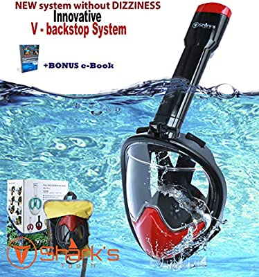 Shark's Tooth Snorkel Mask Full Face w/Compatible Action Camera Mount, 180° Panoramic Swimming View, Anti-Leak Fit & Anti-Fog Snorkeling Mask Set, Easy Breath Scuba Diving Mask, V Backstop Technology