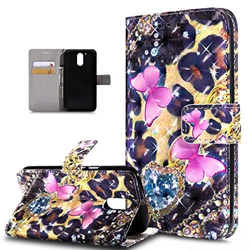 Kompatibel mit Motorola Moto G4 Plus Hülle,3D Bunte Gemalte Schmetterlings PU Lederhülle Flip Ständer Wallet Handy Hülle Tasche Handy Tasche Schutzhülle für Motorola Moto G4 Plus,Rosa Schmetterling