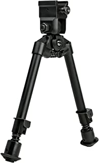 NcSTAR Bipod with Weaver Quick Release Mount/Universal Barrel Adapter Included/Notched Legs, Black
