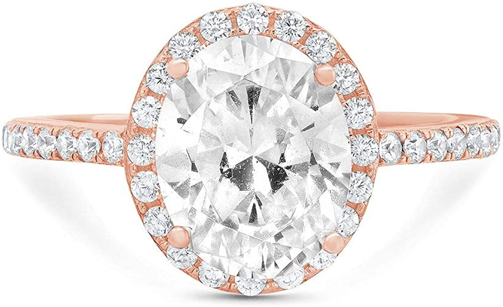 2.86ct Brilliant Oval Cut Solitaire Accent Halo Genuine Flawless White Lab Created Sapphire Gemstone Engagement Promise Anniversary Bridal Wedding Ring Solid 18K Rose Gold