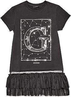 GUESS Girls' Short Sleeve Mesh Trim Sequin Graphic T-Shirt