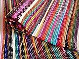 Second Nature Online Vorleger Mehrfarbiger Handgewebt Recycelter Stoff Teppich Matte Flaches Gewebe Indische Ethische Quelle Klein Mittel Groß