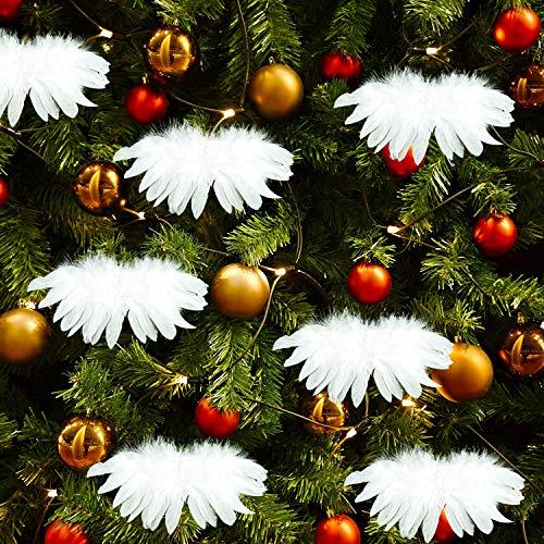 MIAHART 12 STK. Weiße Weihnachtsdekorationen Fantasy Angel White Feather Wing Ornament für Weihnachtsfeierdekoration DIY Craft, 22 x 12 cm / 8,7 x 5 Zoll