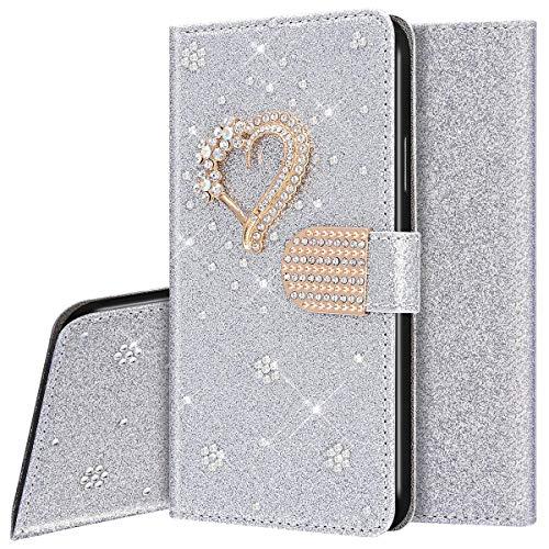Funda Para iPhone XR,Carcasa Purpurina Diamante Dibujos de Estilo Billetera Libro Funda de Cuero de la PU con Tapa Protectora de Cuerpo Completo Suave Magnético Para iPhone XR,Plata