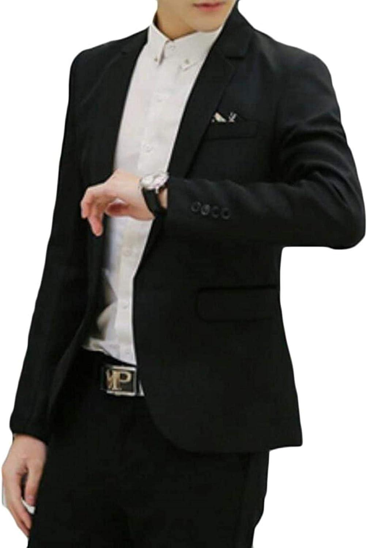 Men Slim Fit Blazer Jacket Solid Cotton One Button Sport Coats