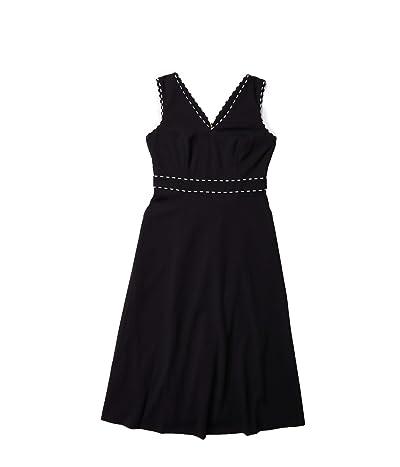 Calvin Klein A-Line Dress with Trim Detail (Black/Cream) Women