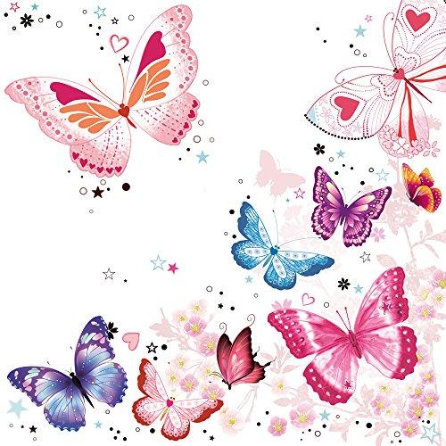 20 Servietten Strahlende Schmetterlinge / Tiere / Tiermotiv / Frühling / Sommer 33x33cm