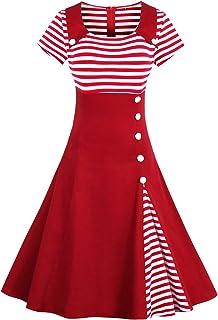 f33754f75a8007 MisShow Damen 50s Vintage Rockabilly Kleid Jersey Sommerkleid Abendkleid  getreift Pin Up Gr.S~