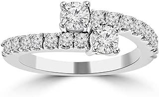 Madina Jewelry 0.95 ct Ladies Round Cut Diamond Anniversary Wedding Band Ring in 14 kt White Gold