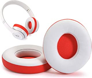 Beats Solo 2 3 Replacement Earpads, Earla Tech Ear Cushion for Beats Solo 2.0 Solo 3.0 Wireless On Ear Headphones (White and Red)