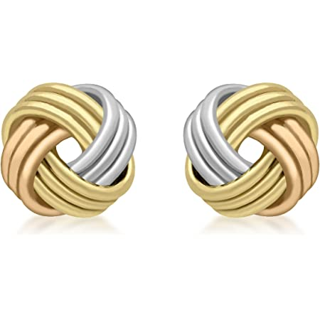 Carissima Gold 9 ct 3 Colour Gold Knot Stud Earrings