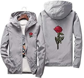 Men's Lightweight Hooded Windbreaker Embroidery Rose Full Zip Windproof College Jacket