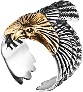 SINLEO Men's Stainless Steel Hawk Ring Skyhawk Sculpture Biker Band Silver Gold