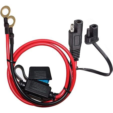 YETOR SAE au faisceau de câbles de borne à joint torique,avec fusible 15A pour la sécurité, connecteur à dégagement rapide à 2 broches,câble d'extension de batterie SAE avec 2FT 10AWG pour motos,auto.