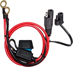 YETOR SAE to O Ring Terminal Harness, with 15A Protection Fuse for Safety, 2-Pin Quick Disconnect Plug,SAE Battery Extension Cable with 2FT 10AWG for Motorcycle Cars.
