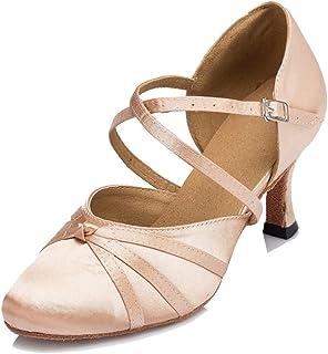 Women's Closed Toe Cross-Strap Knot Satin Salsa Tango...