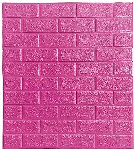 Ice-Beaut Packung Mit 10 Selbstklebenden Wandaufklebern, 3D Brick Wallpaper Foam Panel Dekorative Abnehmbare Schallschutzwandpaneel Fliesen FüR Wohnzimmer Schlafzimmer pink
