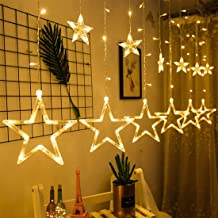 Awordn Waterproof 12 Stars 138 LED String Window Curtain Lights for Decorations (2 x 0.6 m, Warm White)