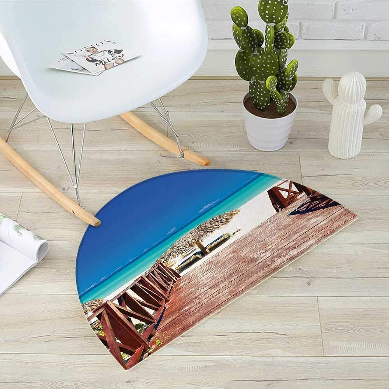 Beach Semicircular CushionWalkway Heads to Sandy Beach Resort in Cuba Summer Day Hot Burnt Ocean Entry Door Mat H 39.3  xD 59  Chocolate Navy Turquoise