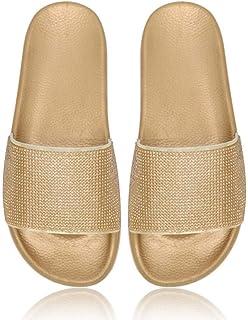 FDGBCF Rhinestone Slip-on Women Slides Shoes Shinny Crystal Emebellished Sequined Flats Slippers Shoes Summer Flip-Flops Shoes Outside