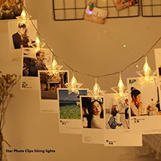 Prince Team 20LED Star Photo Clips String Lights Girls Heart Room Decoration with Clips for Hanging Pictures,Cards,Artwork, Warm White
