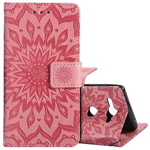 KunyFond 3D Tournesol Gaufrage Motif Etui PU Cuir Housse à Rabat Paillettes Brillant 3D Diamant Strass Leather Case Fonction Stand Fentes Crédit Bumper Coque Compatible Sony Xperia XZ2 Compact-Rose