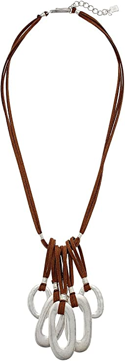 Brown Leather and Silver Frontal Necklace