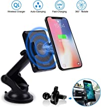Wireless Car Charger Mount, CORNMI 5W/10W Qi-Enabled Phones Wireless Charging (Black)