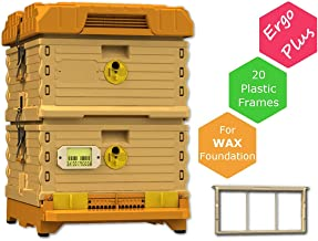 Apimaye Ergo Plus 10 Frame Langstroth Insulated Bee Hive Set with Plastic PRO Frames (Plus Orange)