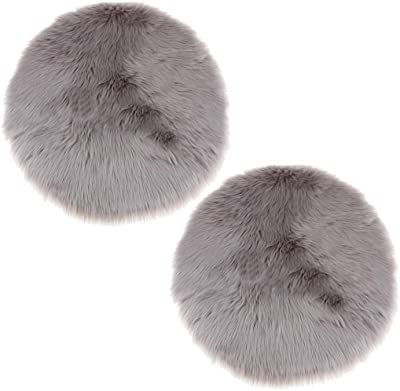 Blesiya 2 Pieces Plush Area Rugs, Soft Cozy Shaggy Round Rug Floor Mat, Kids Play Rug Floor Protectors Covering for Bedroom and Nursery