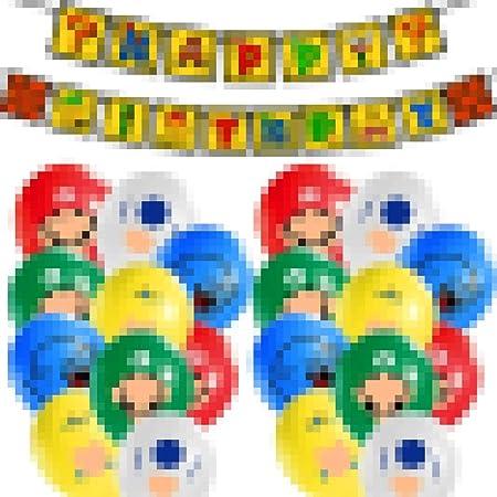 SUNSK Globo de Super Banner de Happy Birthday Globo Redondo Globo de Látex Super Decoración para Fiestas de Cumpleaños 22 Piezas