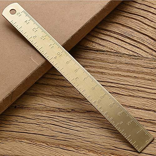 Homehome - Regla de cobre engrosado, 15 cm, regla de latón puro retro, regla de cobre mini, dibujo y dibujo para la escuela oficina papelería (dorado)