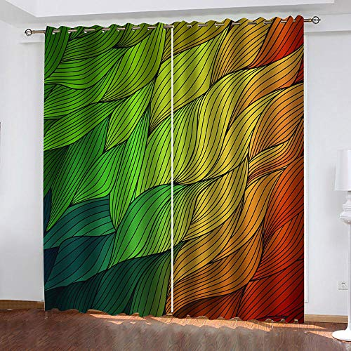 BHOMLY - Curtains For Living Room Eyelet - 3D Digital Printing - Green yellow red lines 92.5x175cm 2 Panels - Ring Top - Window Treatments - Nursery - Boys Girls Bedroom- Home Decoration