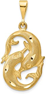 14k Yellow Gold Pisces Zodiac Pendant Charm Necklace Pisce Fine Jewelry Gifts For Women For Her