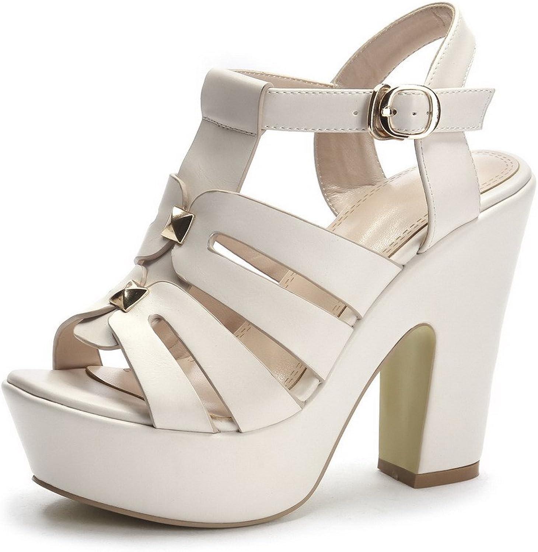 AmoonyFashion Women's Buckle Open-Toe High Heels PU Solid Sandals