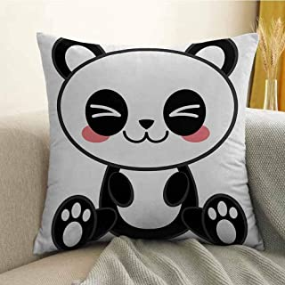 Bedding Soft Pillowcase Hypoallergenic Pillowcase Cute Cartoon Smiling Panda Fun Animal Theme Japanese Manga Kids Teen Art Print W24 x L24 Inch Black White Gray