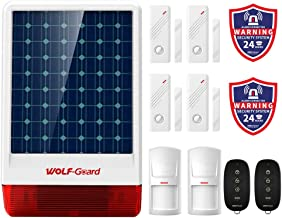 Solar Powered Siren, Wolf-Guard Wireless Outdoor Water Resistant Siren with Turnable LED Flashing Light,Closed Arming and Disarming Tone,DIY 120dB Home Security Alarm System,for Emergency Help