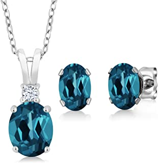 London Blue Topaz 925 Sterling Silver Gemstone Birthstone Pendant Earrings Set 3.15 Cttw Oval with 18 Inch Silver Chain