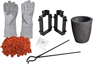 Sand Casting Set with 5 Lbs Petrobond Clay Sand Tongs. Safety Gloves, Graphite Crucible, Mold Frames, Parting Powder, Flux for Melting Gold Silver Aluminum Brass Bronze Copper Metals