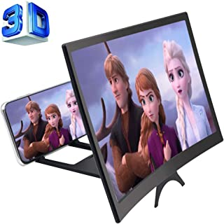 GLISTON 12'' 3D Phone Screen Enlarger, Curved Screen Magnifier for Cell Phone, HD Screen Amplifier, Folding Screen Magnifi...