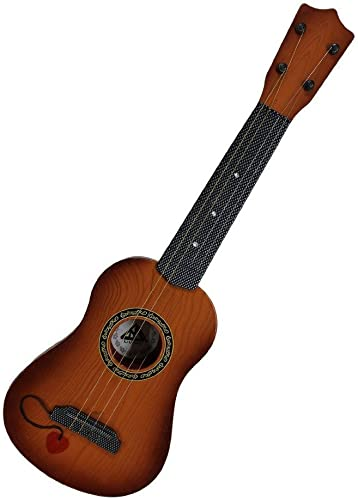TUMTUM 4 String Acoustic Guitar Musical Instrument Learning Toy for Kids Baby Boys and Girls Brown 18 inch